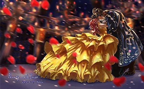 JUHAO Kit de pintura de diamante Completo DIY Cuadros Diamantes 5d Para Adultos Niños Beginner Pintura de Diamantes-Póster Dibujos animados de la bella y la bestia-Pintura sobre lienzo