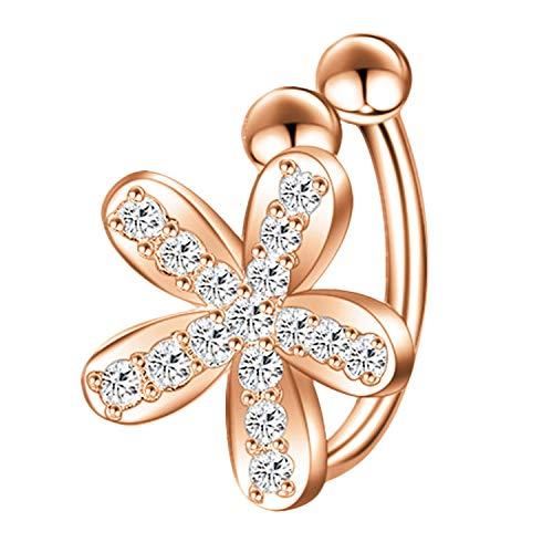 Pendientes de clip para mujer, plata 925, diseño de flor con circonitas, brillantes, color oro rosa