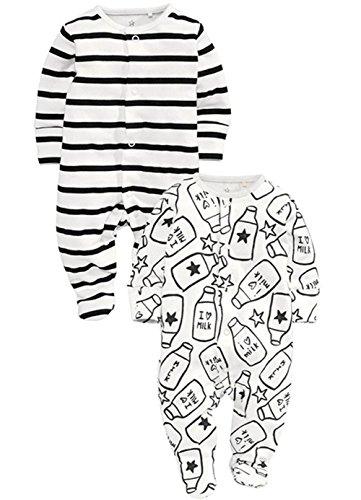 Body Vest Env Neck Twins Unisex Baby WhiteBlack Cotton Long Sleeved Bodysuit 2 Pack 0 3 3 6 6 9 Months