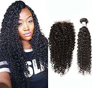 Beauty Forever Best Curly Malaysian Hair 3 Bundles With Lace Closure Malaysian Jerry Curly Hair Free Part Lace Closure Unprocessed Human Virgin Hair Weave Natural Color (14 16 18 with 12, Free Part)