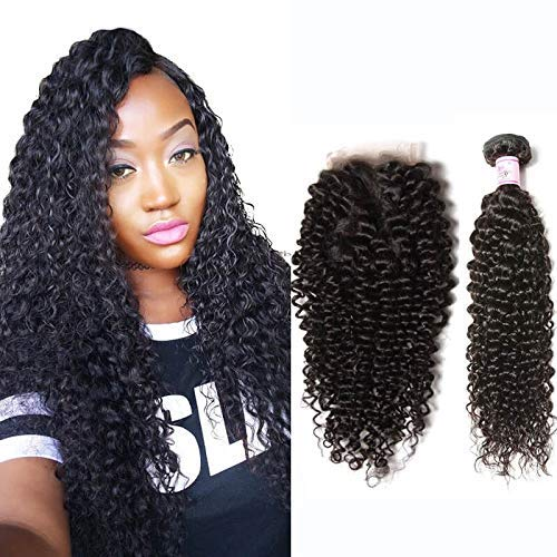 Beauty Forever Best Curly Malaysian Hair 3 Bundles With Lace Closure Malaysian Jerry Curly Hair Free Part Lace Closure Unprocessed Human Virgin Hair Weave Natural Color (16 18 20 with 14, Free Part)