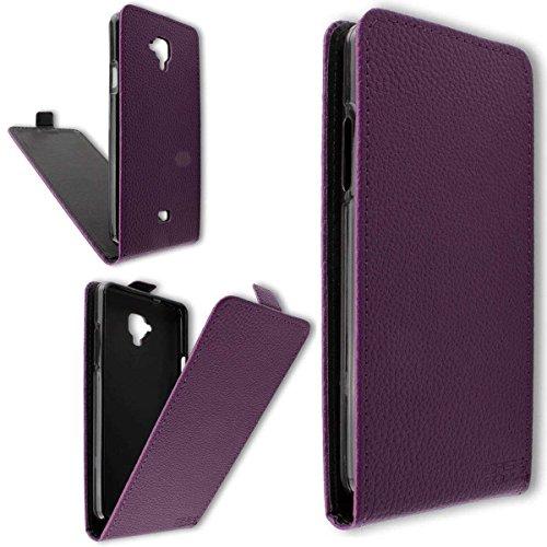 caseroxx Flip Cover & Bildschirmschutzfolie für Archos 50 Titanium 4G, Set (Flip Cover in lila)