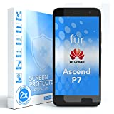 EAZY CASE 2X Panzerglas Bildschirmschutz 9H Festigkeit kompatibel mit Huawei Ascend P7, nur 0,3 mm dick I Schutzglas aus gehärteter 2,5D Panzerglasfolie, Bildschirmschutzglas, Transparent/Kristallklar