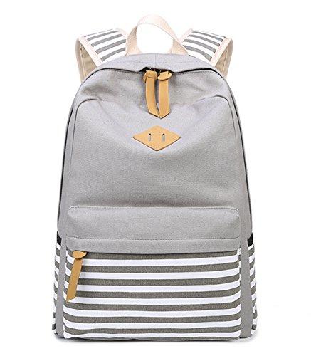 DNFC Canvas Striped Backpack School Bag for Teenager Girls Boys Daypack Sports Bag Laptop Book Bag Satchel Cool Back Pack Fashion Rucksack Backpack (Grey)