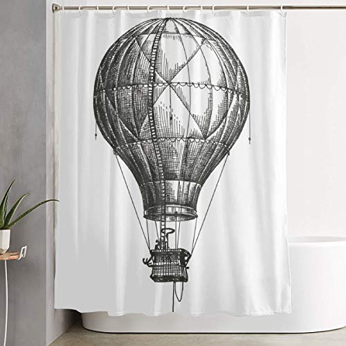 GUUi douchegordijn waterdicht wasbaar bad gordijn, hete lucht ballon vector logo ontwerp sjabloon, voor badkamer met 12 haken