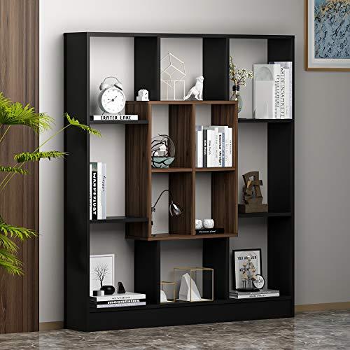 HOMIDEA Mars Bibliothèque - Étagère de Rangement - Étagère pour Livres - Étagère pour Bureau/Salon par Le Design Moderne (Noir/Noyer)