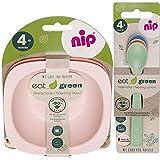 NIP öko bio Geschirrset GIRLS ab 4. Monat, 2 Breischale + 3 Eat Green öko bio Babylöffel, geeignet für die Mikrowelle, Melamin frei, BPA frei, Spülmaschinenfest, made in Germany