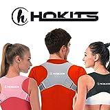 HOKITS (New 2020) Correttore Posturale - Fascia per Spalle e Schiena di Postura - Fascia di Postura - Busto a 3 Colori Reggi spallei - Schiena Dritta - Raddrizza, Raddrizzaspalle (Grigio)