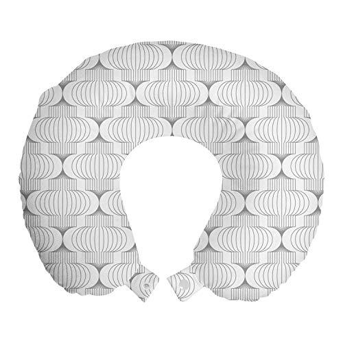 ABAKUHAUS Geométrico Cojín de Viaje para Soporte de Cuello, Al Igual Que Las Formas Linterna de Papel, de Espuma con Memoria Respirable y Cómoda, 30x30 cm, De Blanco pálido Gris Pardo