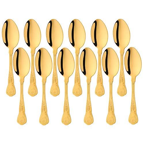 Buyer Star Cucchiai da 12 pezzi Cucchiai da portata, set di posate in acciaio inossidabile dorato per cucina domestica e ristorante