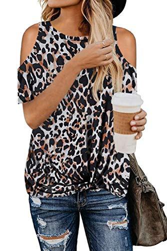 FANGJIN Camiseta con Estampado de Animales de Verano para Mujer Blusas pequeñas Sexis a la Moda Tops de Guepardo Elegantes Camisas con Hombros Descubiertos Negro S