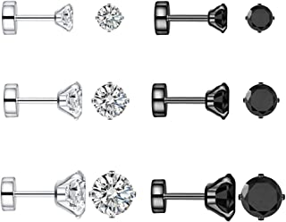 6 Pairs 18g 20g Stainless Steel Black Tiny Cubic Zirconia Studs Earrings for Women Men Cartilage Ear Piercings Helix Set Flat Screw Backs 3mm 4mm 5mm