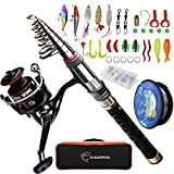 Sandking Fishing Pole Kit, Carbon Fiber Telescopic Fishing Rod and Reel Combo with Spinning Reel, Line, Bionic Bait, Hooks and Carrier Bag, Fishing Gear Set for Beginner Adults Saltwater Freshwater