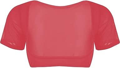 LinvMe Women's Mesh Open Bust Short Sleeve Belly Dance Crop Top
