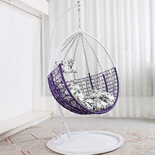 QPALB Rattan Swing Egg Chair 185 * 118cm with Bracket Hammock Swing Chair Bearing 150kg for Bedroom Balcony Courtyard-B.