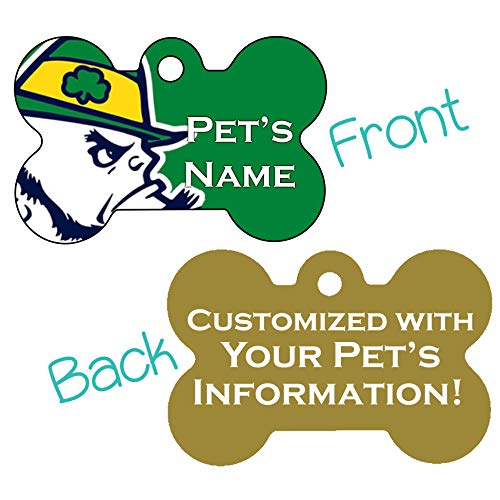 NCAA Double Sided Pet Id Dog Tag Personalized with 4 Lines of Text (Notre Dame)