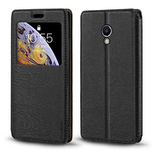 Meizu M5S Custodia in pelle a grana di legno con porta carte e finestra, flip cover magnetica per Meizu M5S