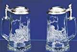 Labrador Beer Stein with Pewter Lid German Glass Beer Stein