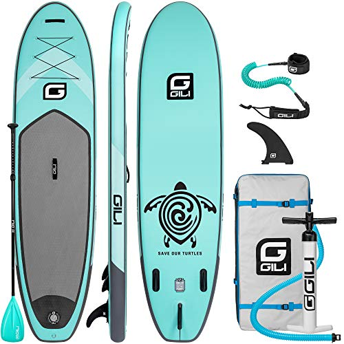 GILI 10'6 Inflatable Stand Up Paddle Board Package (10'6' Long 31' Wide 6' Thick): Includes Paddle, Backpack, SUP Coiled Leash & Pump (Teal)