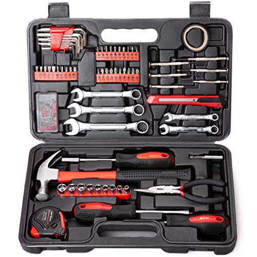 Cartman 148Piece Tool Set General Household Hand Tool Kit with Plastic Toolbox Storage Case Socket and Socket Wrench Sets