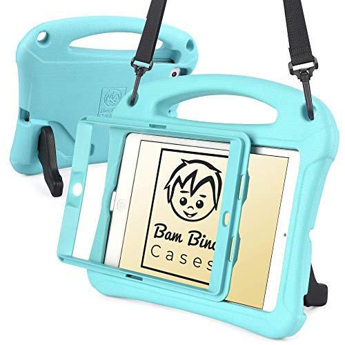 Bam Bino Space Suit [Rugged Kids Case] Child Proof Case for iPad Mini 3, iPad Mini 2, iPad Mini 1 | Protective Screen Guard, Shoulder Strap (Turquoise)