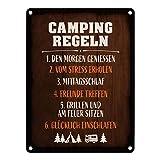 trendaffe - Camping Regeln Metallschild Campingregeln Campingwagen Zelt Natur Wohnwagen