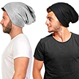 2 Pieces Silk Satin Bonnet for Mens with Natural Curly Wave Hair (Black, Gray)