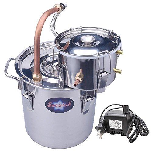 Seeutek Sealed 2 Gallon Copper Tube Moonshine Still Spirits Kit 8L Water Alcohol Distiller Home Brew Wine Making Kit Stainless Steel Oil Boiler with Water Pump