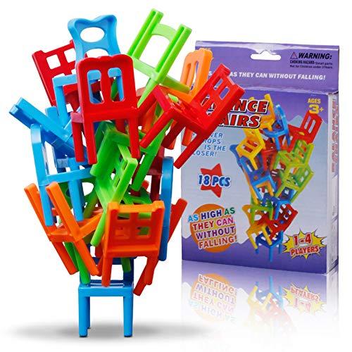 Zerodis 18 STÜCKE Balancing Spielzeug Kunststoff Stühle Bunte Mini Stacking Intelligence Multiplayer Balance Spiel Kinder Spielen Spiel Lernen Spielzeug Playset für Unisex Kinder