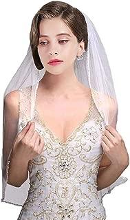 "JINGDRESS Wedding Veils Short Bridal Veils with Comb 1T Rhinestone Elbow Length 30"""