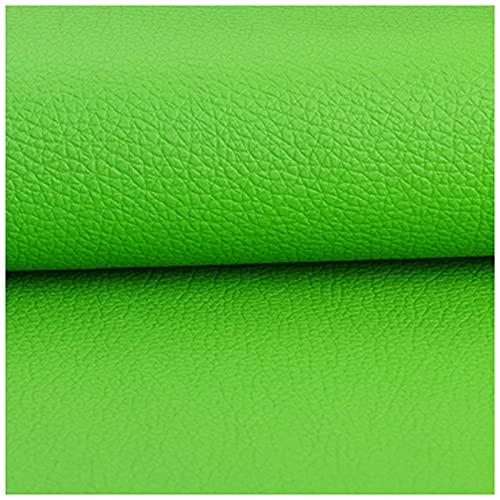 Tela de vinilo de 1,38 m de ancho de imitación de piel sintética de color sólido, hojas de piel sintética para hacer cartera, bolsos, vestir, costura, manualidades (tamaño: 1,38 × 1 m, color: verde)