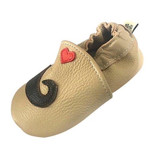 LSHEL Premium Weich Leder Babyschuhe Jungen und Mädchen Krabbelschuhe Neugeborene 0-24 Monate Erste Lauflernschuhe, Bart, 6-12 Monate