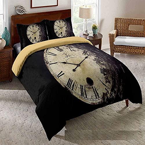 Bedclothes-Blanket Juego de Cama Matrimonio,Cama 3D Single Ropa de Cama Edredón Set Reloj de Tres piezas-229 * 259_4