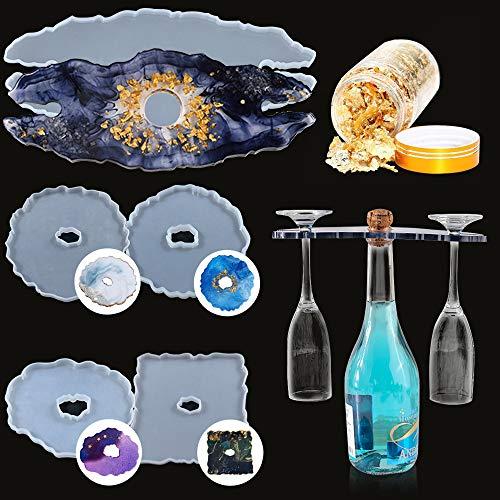 Molde de silicona, juego de 6 moldes de posavasos de resina y caja de vino rojo con copos de hoja de oro de resina epoxi para posavasos, bandeja para botellas, manualidades