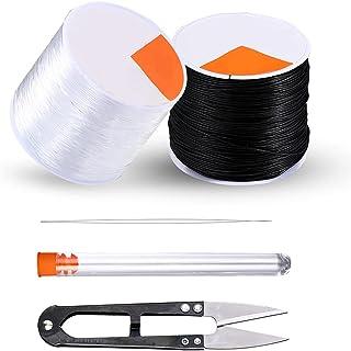 Codream 0,8 mm Cordons elastique pour braceletbijoux - 50 m noir et 50 m de fil extensible transparent pour fabrication de...