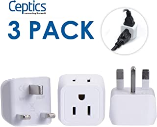 UK, Hong Kong, Ireland Travel Adapter Plug by Ceptics - Usa Input - Type G - Safe Grounded Perfect for Cell Phones, Laptops, Camera (3 Pack) - Dual Inputs - Ultra Compact - Light Weight (CT-7)