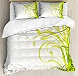 Ambesonne Green Duvet Cover Set, Bamboo with Floral Curly Leaves Feng Shui Garden, Decorative 3 Piece Bedding Set with 2 Pillow Shams, Queen Size, Lime Green