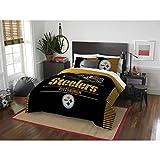 MS 3pc NFL Steelers Comforter Full Queen Set, Team Logo Fan Merchandise Athletic Team Spirit Fan, Polyester, Unisex, Black Yellow Football Themed Bedding Sports Patterned