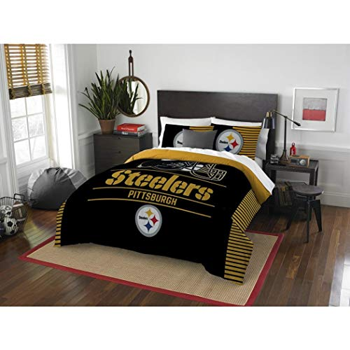 MS 3pc NFL Steelers Comforter Full Queen Set, Team Logo Fan Merchandise Athletic Team Spirit Fan, Polyester, Unisex, Black Yellow Football Themed Bedding Sports Patterned