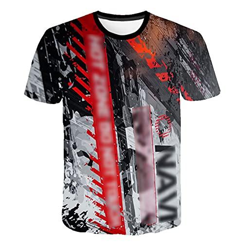 ZZAL Camisetas Hombre Hombres de Manga Corta Camiseta Estampada de Moda Ropa Casual de Graffiti Chalecos Activos Transpirabilidad para Yoga, Vacaciones, Playa(Size:S,Color:Style1)