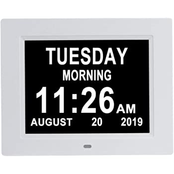 Aowasi [Auto-Dimming Options] Digital Day Calendar Clock Non-Abbreviations Day Date 8 Alarm Options Battery Backup Dementia Alzheimer Impaired Vision Memory Loss Clocks for Senior Elderly