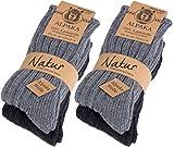 Brubaker Chaussettes tricotées en Alpaga - Lot de 4 Paires - 100% Laine d'alpaga - Unisexe - 35-38 - Gris