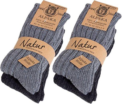 Brubaker 4 Paar dicke flauschige warme Alpaka Socken Grautöne 100% Alpaka 43-46