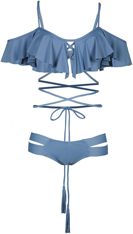 Navy bluee Chest and Ruffled Swimsuit, Beach Tassel Strap Bikini Swimsuit, Seaside Sexy Split Swimsuit Women (Size   L)