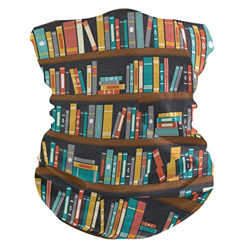 Qilmy Library Book Shelf Bandanas Face Mask with Carbon Filters Headband Scarf Headwrap Neckwarmer & More – Multifunctional for Motorcycle, Cycling, Outdoors