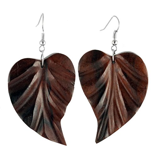 ISLAND PIERCINGS handgefertigte Ohrringe Hänger Blatt aus Holz ER287