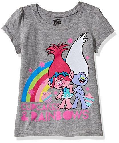 DreamWorks Trolls Girls' Toddler Short Sleeve Puff Tee, Heather Grey, 4T