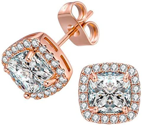 VOLUKA 18K White Gold/Rose Gold Plated Square Cubic Zirconia Stud Earrings 6mm for Women Teen Girls Jewelry