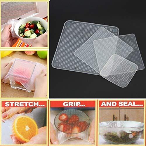 Penveat 4 pcs/lot Gardant aliments frais réutilisable stretch en silicone Nourriture Wraps Joint sous vide Housse stretch Couvercle Taille unique transparent