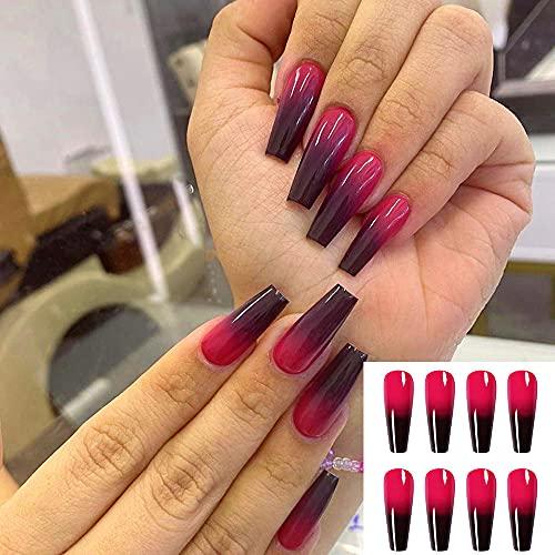 Fałszywe paznokcie 24 sztuk długie baletki fioletowe czarne gradientowe sztuczne paznokcie noszące zdobienia paznokci wykończone łatki do paznokci z trumną z pełnymi tipsami